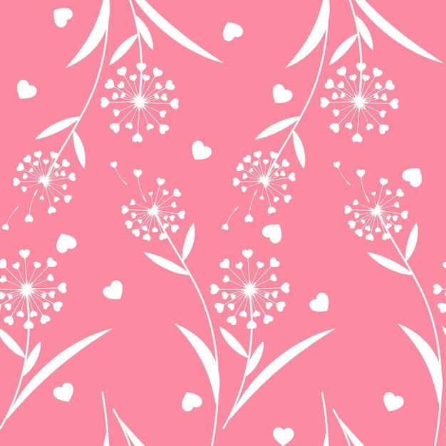 Valentine's day floral seamless pattern. Premium Vector