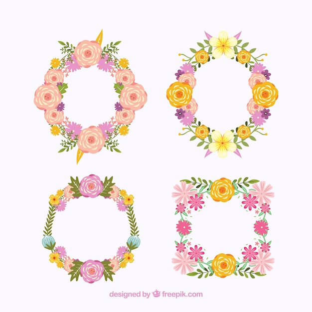 Valentine's day floral wreaths & bouquets Free Vector