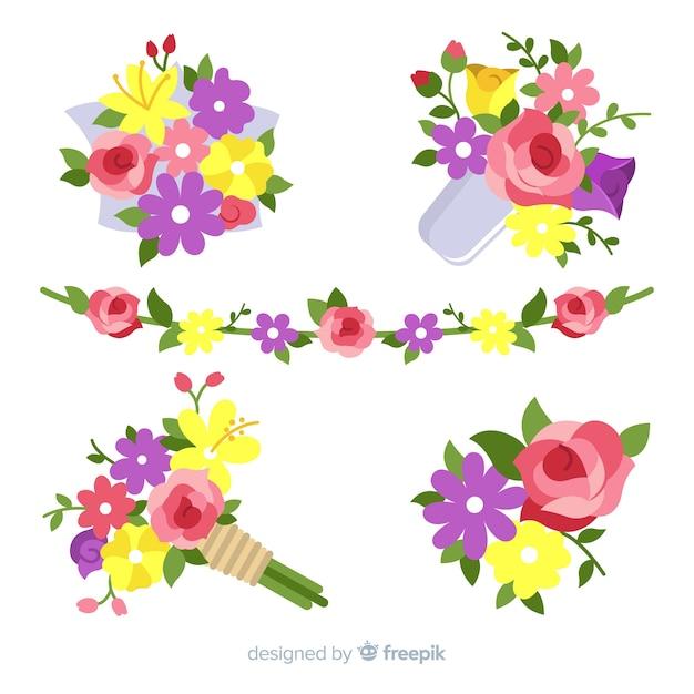 День святого валентина цветочные венки и букеты Бесплатные векторы