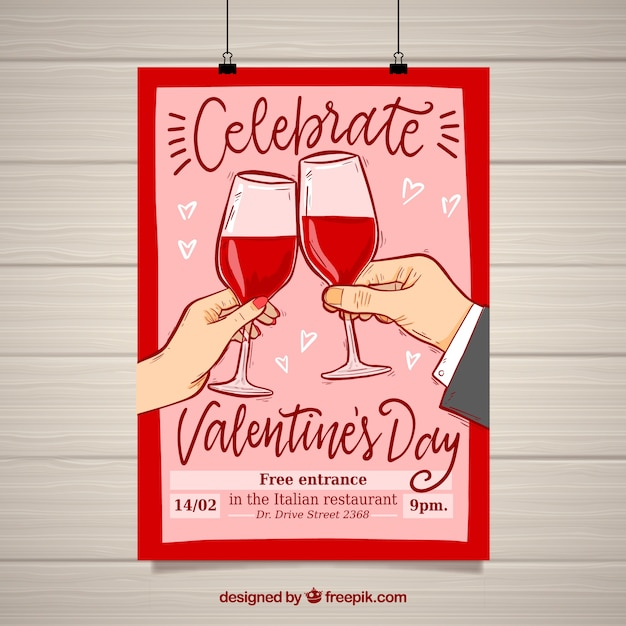 valentine 39 s day flyer and poster template vector free download. Black Bedroom Furniture Sets. Home Design Ideas