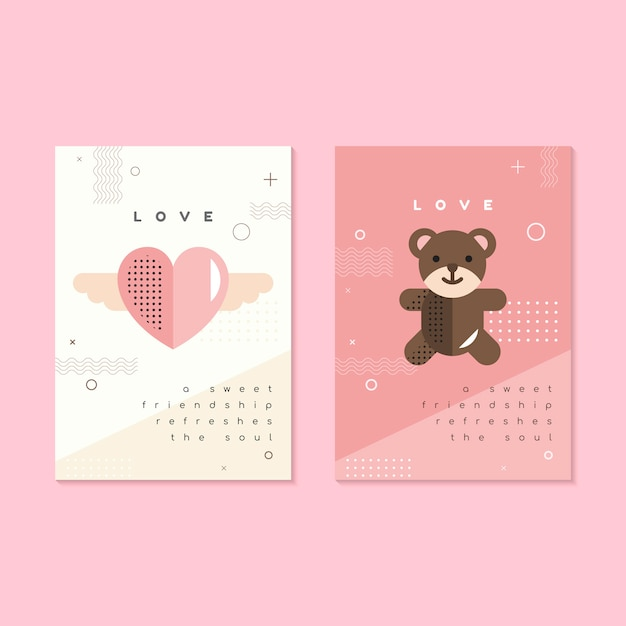 Valentine's day flyer and card template Free Vector