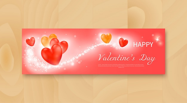 Valentine's day flyer with realistic red and yellow hearts Premium Vector