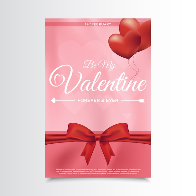 Valentine's day flyer Premium Vector