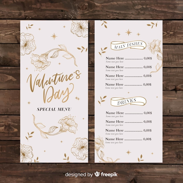 Valentine's day golden flowers menu template Free Vector