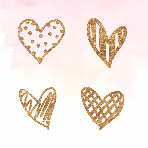 Valentine's day golden heart collection Free Vector