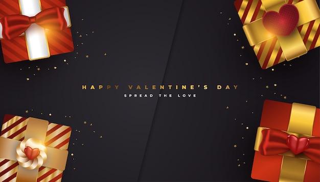 현실적인 빨간색과 금색 선물 상자와 반짝이 골드 색종이 발렌타인 인사말 배너 프리미엄 벡터