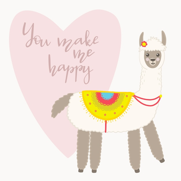 Valentine's day greeting card. cute llama with hand drawn elements. you make me happy. Premium Vector