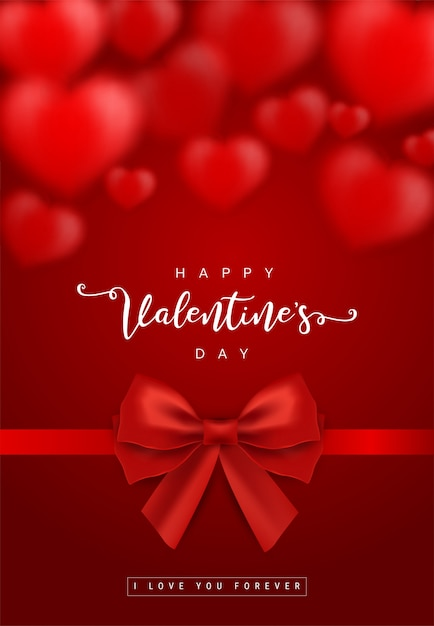 Valentine's day greeting card templates with realistic of beautiful red heart with ribbon Premium Vector