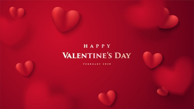 Valentine's day greeting card. with a 3d illustration of a red love balloon and with the word Premium Vector