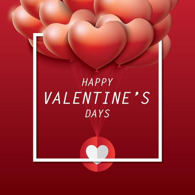 Valentine's day Greeting Card with beautiful decorative balloons of heart Premium Vector