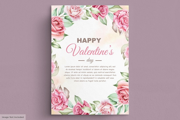 美しい花と葉のバレンタインデーのグリーティングカード 無料ベクター