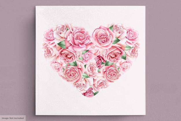 Открытка на день святого валентина с красивым цветком и листьями Бесплатные векторы