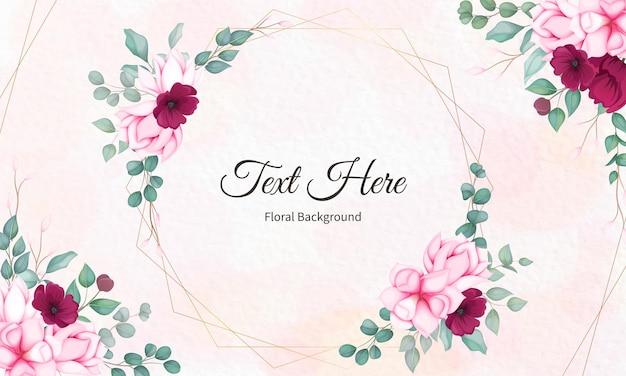美しい花柄のバレンタインデーのグリーティングカード 無料ベクター