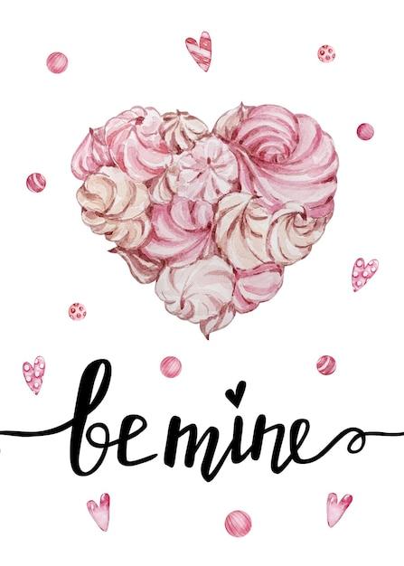 手書きのグリーティングレターと装飾的な水彩イラストが付いたバレンタインデーのグリーティングカード。私とハートのマシュマロになりましょう Premiumベクター