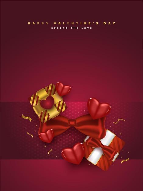 현실적인 선물 상자, 빨간 하트와 반짝이 골드 색종이와 발렌타인 데이 인사말 카드 프리미엄 벡터