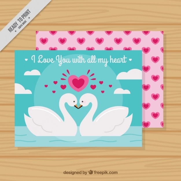Valentine's day greeting card with romantic swans Free Vector