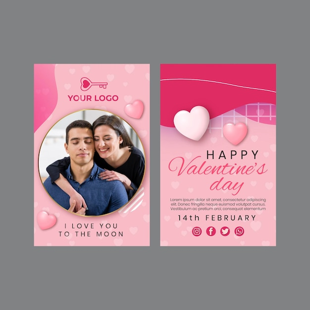 Valentine's day greeting card Free Vector