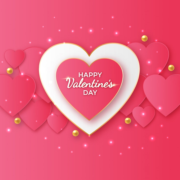 Valentine's day greeting design with heart shapes Premium Vector