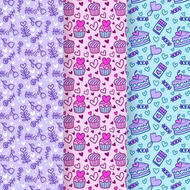 발렌타인 손으로 그린 패턴 컬렉션 무료 벡터