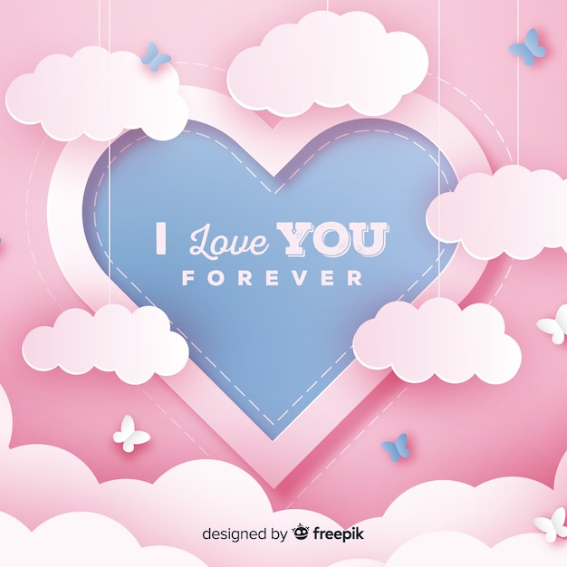 Valentine's day hanging clouds background Free Vector