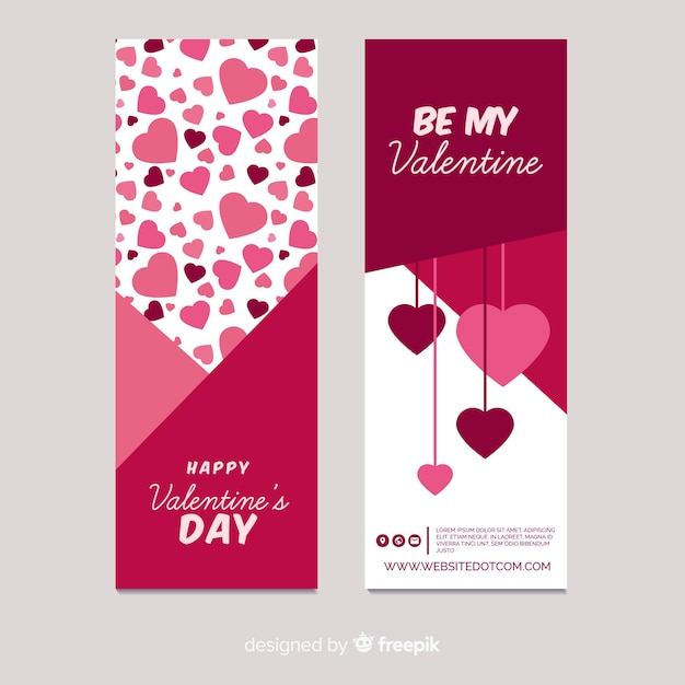 Valentine's day hanging hearts banner Free Vector