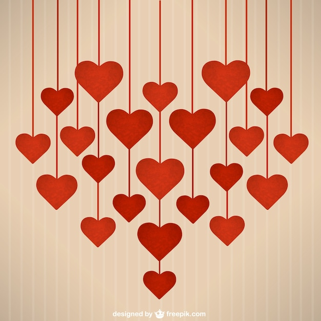 valentine's day hanging hearts vector | free download, Ideas