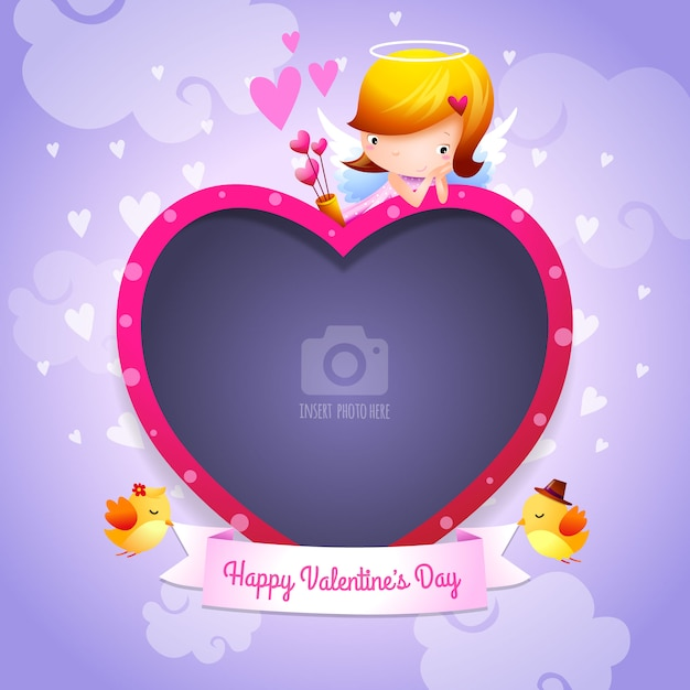 Valentine\'s Day Happy Valentine\'s Day Cupid Angel with Heart-Shaped ...