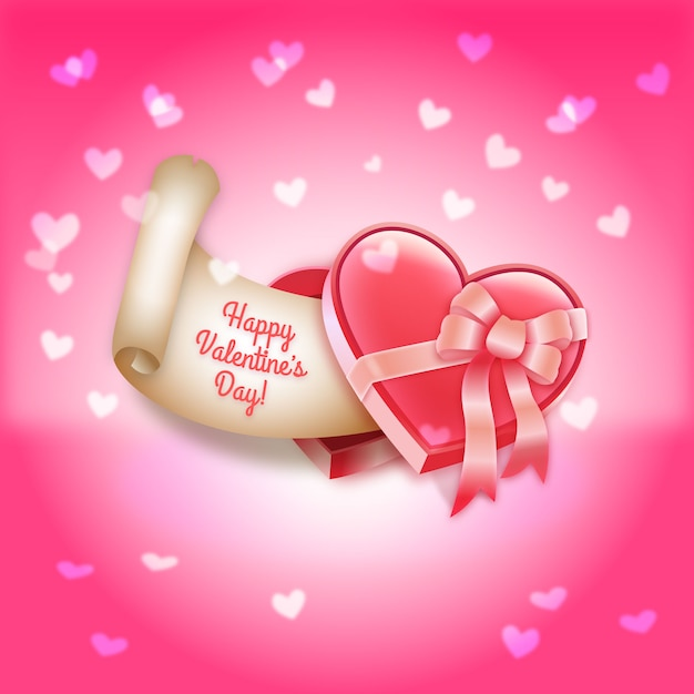 Valentine\'s Day Heart-Shaped Gift Box of Chocolates Vector ...