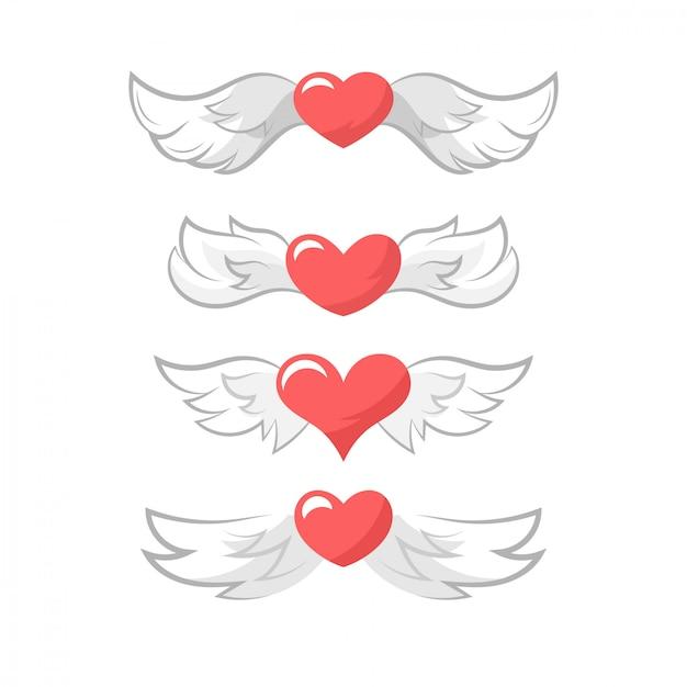 Valentine's day heart wings Premium Vector