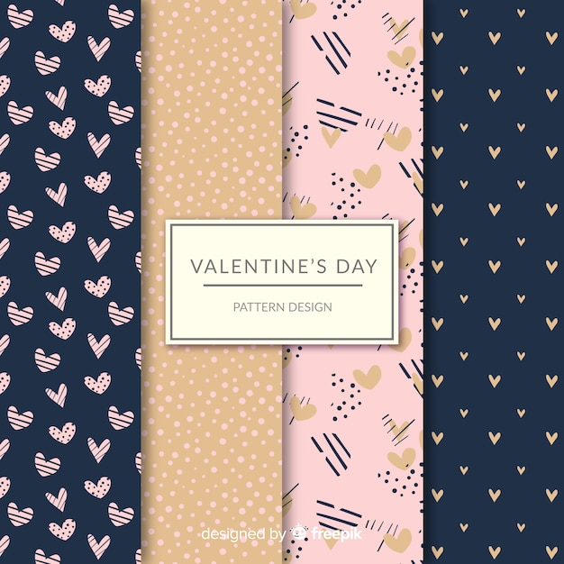 Valentine's day hearts and dots pattern collection Free Vector
