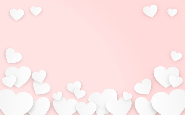 Valentines Day Hearts In Pink Background Vector