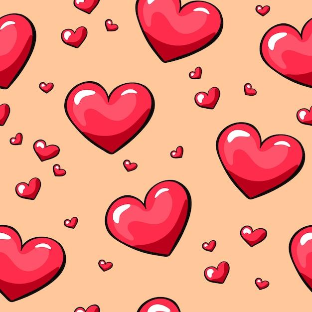 Valentine's day hearts seamless pattern Premium Vector