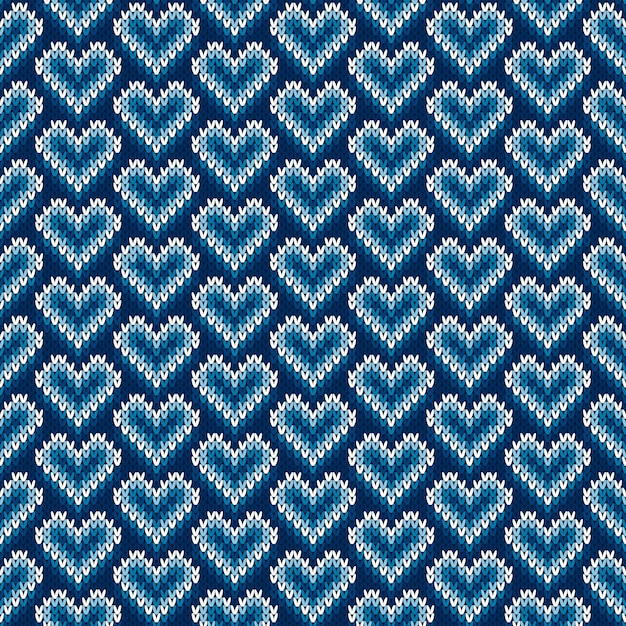 Valentine's day holiday seamless knit pattern with hearts Premium Vector