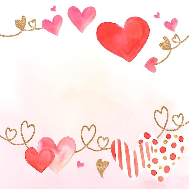 Valentine's day icon watercolor illustration Free Vector