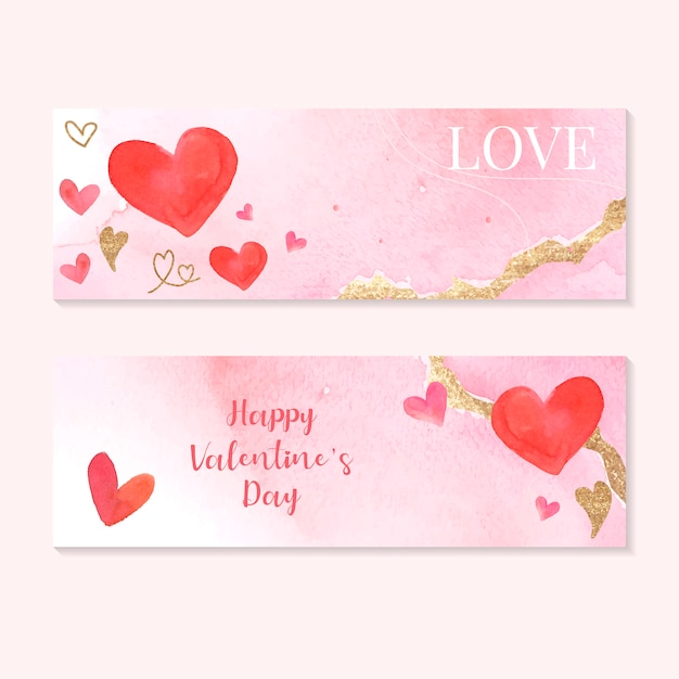 Valentine's day icon watercolor set Free Vector