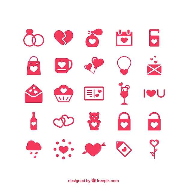 Valentine's day icons Free Vector