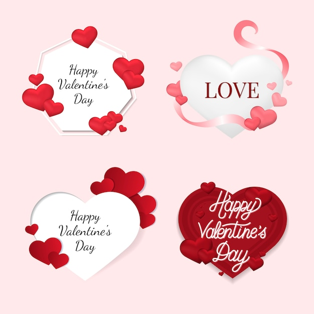 Valentine's day illustration icons Free Vector