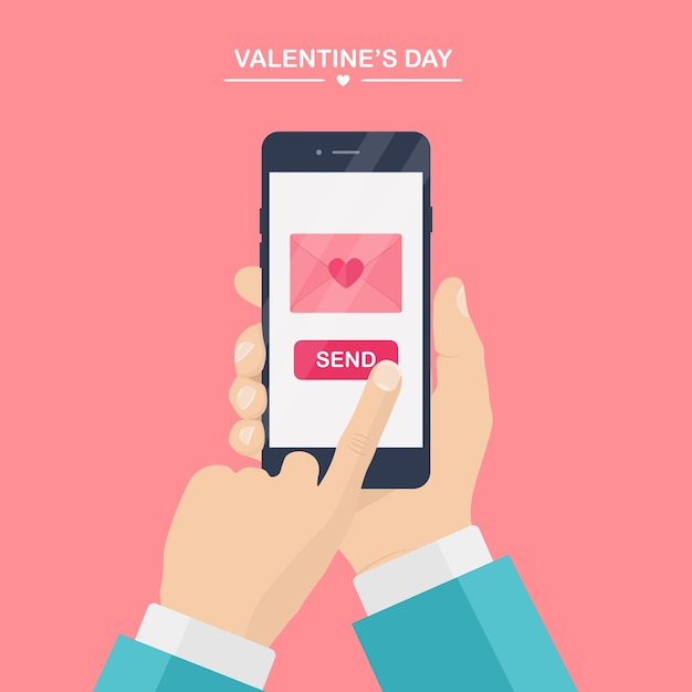 Valentine's day illustration. send or receive love sms, letter, email with mobile phone. human hand hold cellphone  on pink background. envelope with red heart.  ,  icon. Premium Vector