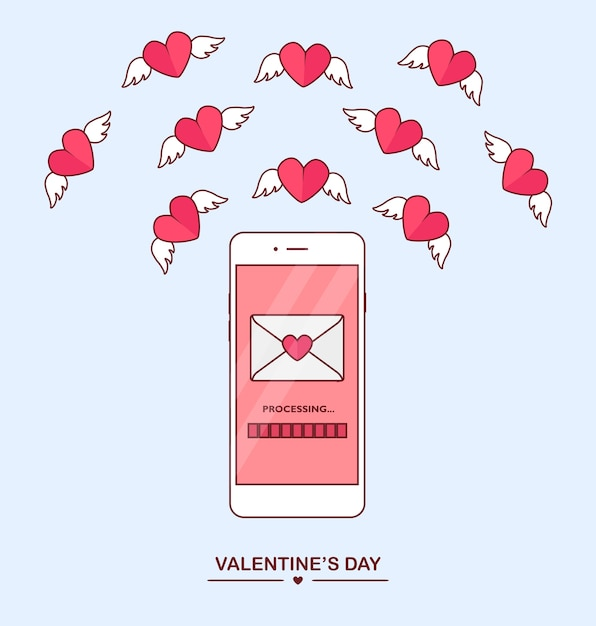 Valentine's day illustration. send or receive love sms, letter, email with mobile phone. white cellphone  on  background. envelope, flying red heart with wings.  ,  icon. Premium Vector