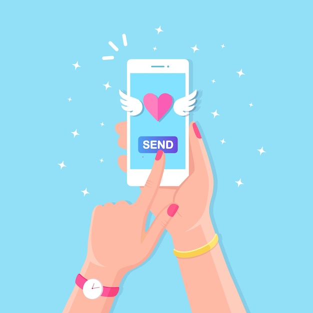 Valentine's day illustration. send or receive love sms, letter, email with mobile phone. white cellphone in hand  on background. flying red heart with wings. Premium Vector