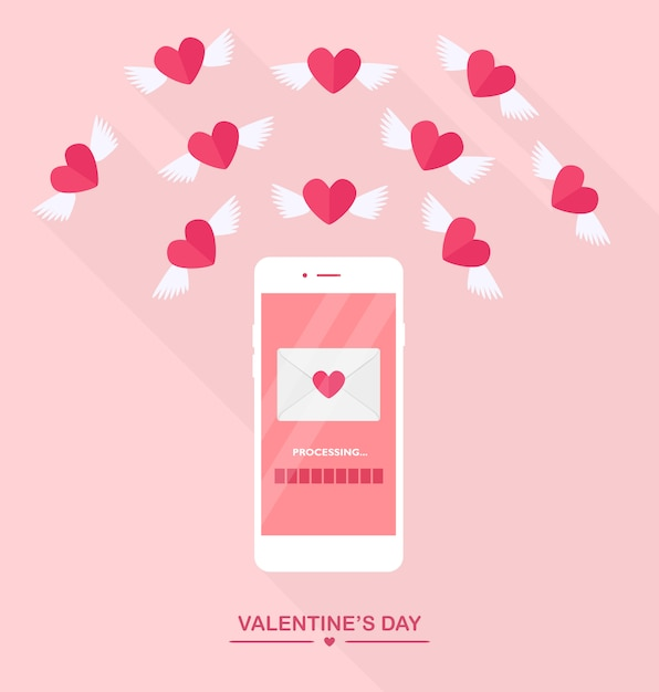 Valentine's day illustration. send or receive love sms, letter, email with mobile phone. white cellphone isolated on  background. envelope, flying red heart with wings. flat design, icon. Premium Vector