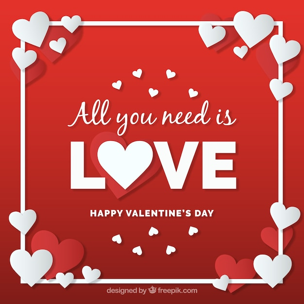 Valentine\'s day in paper style\ background