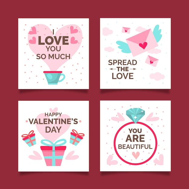 Valentine's day instagram post collection Free Vector