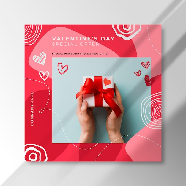 Post instagram di san valentino con offerta speciale Vettore gratuito