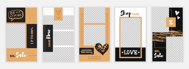 Valentine's day instagram stories design template Premium Vector