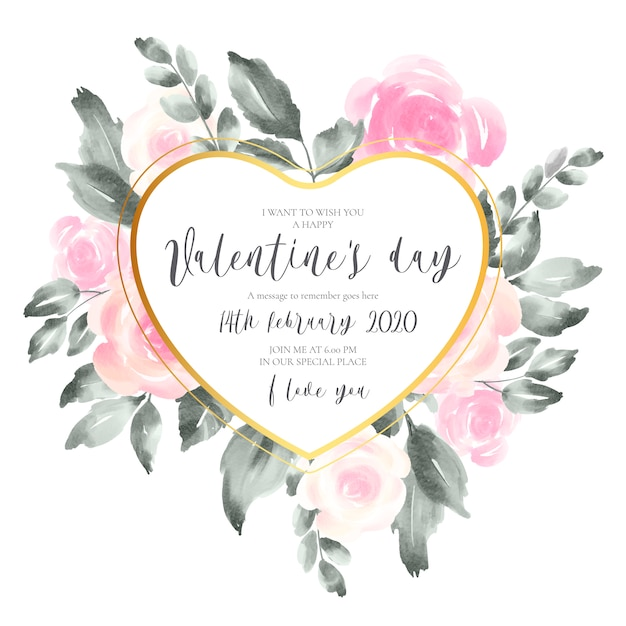 Valentine's day invitation card with soft pink flowers Free Vector