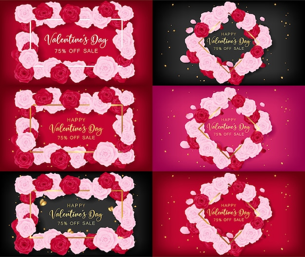 Valentine's day invitation cards as top view of floral frame Premium Vector