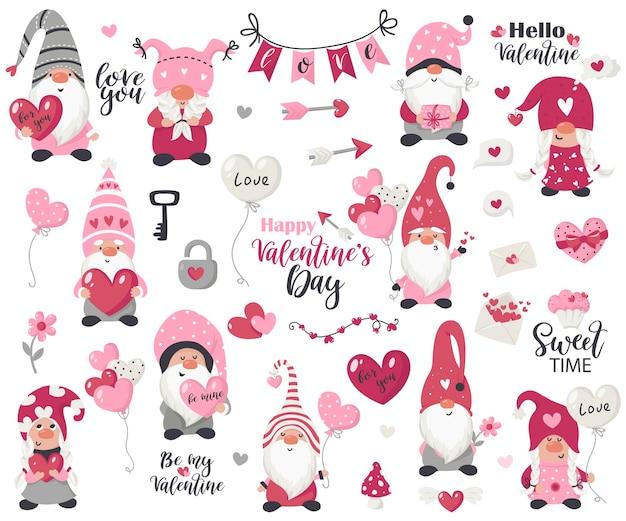 バレンタインデーのアイテムとノームコレクション。グリーティングカード、クリスマスの招待状、tシャツのイラスト Premiumベクター