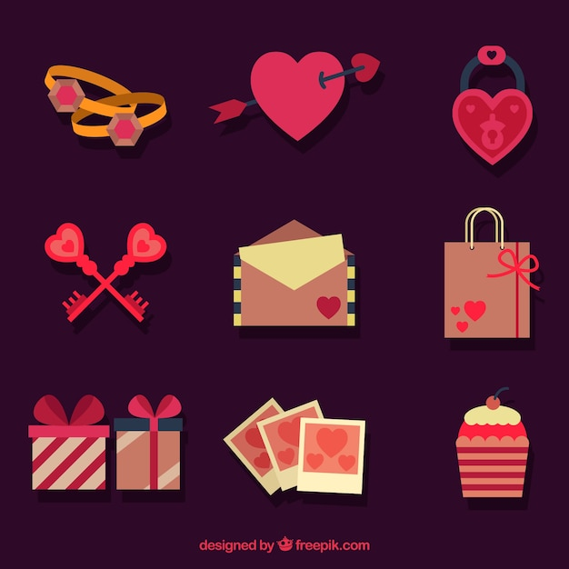 valentine-s-day-items-in-flat-design_23-