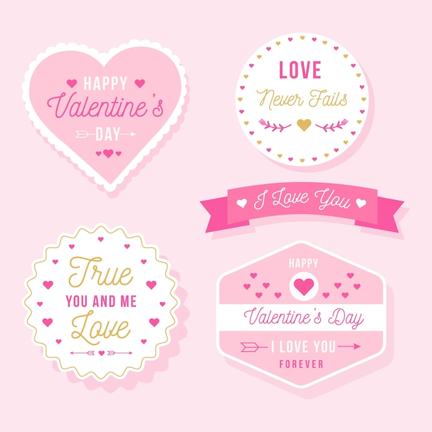 Valentine's day label/badge collection Free Vector